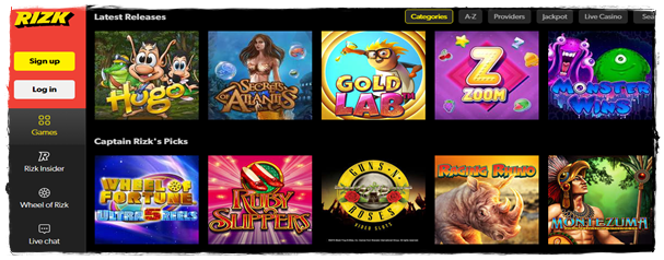 rizk casino games and slots