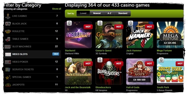 comeon casino games and slots
